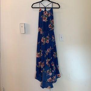 Aqua High-Low Blue Floral Dress